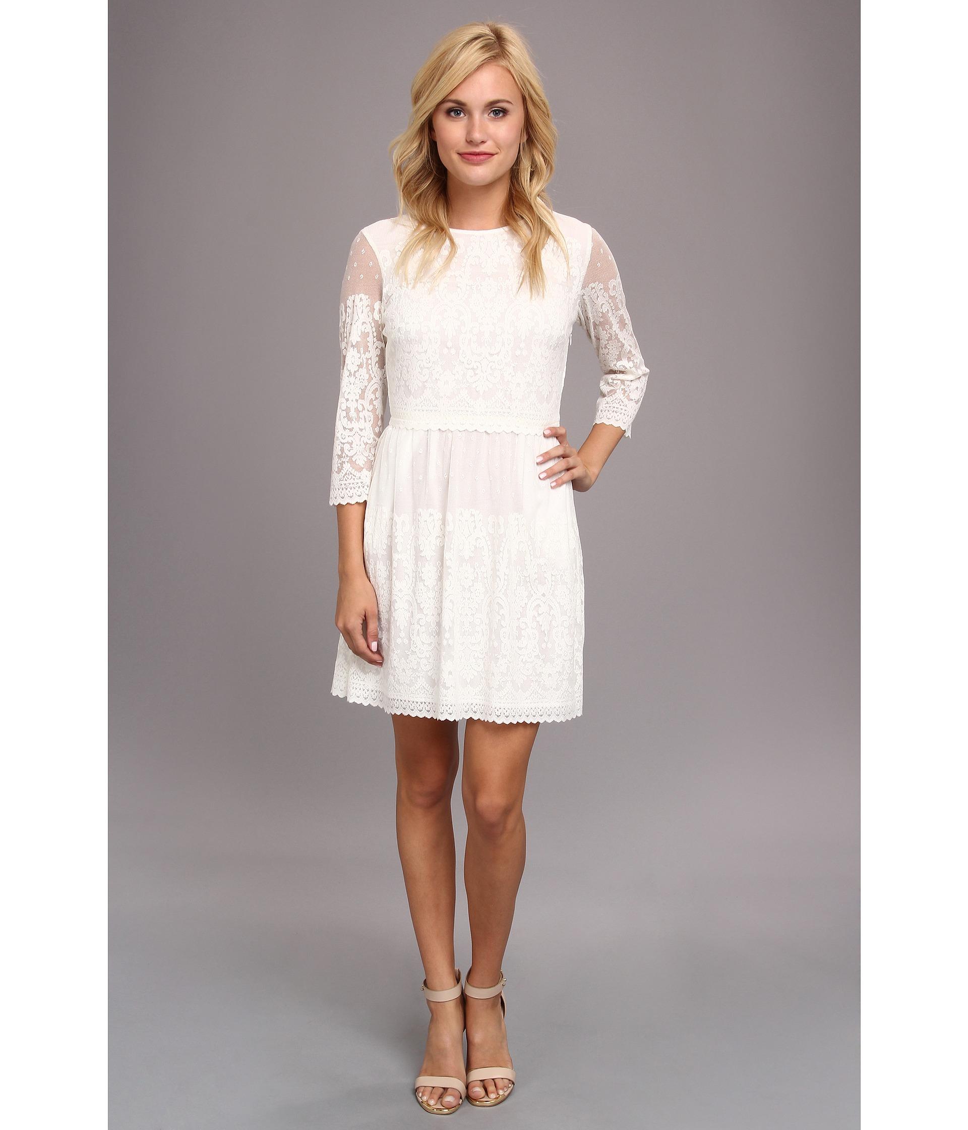 3/4 Sleeve White Lace Dress