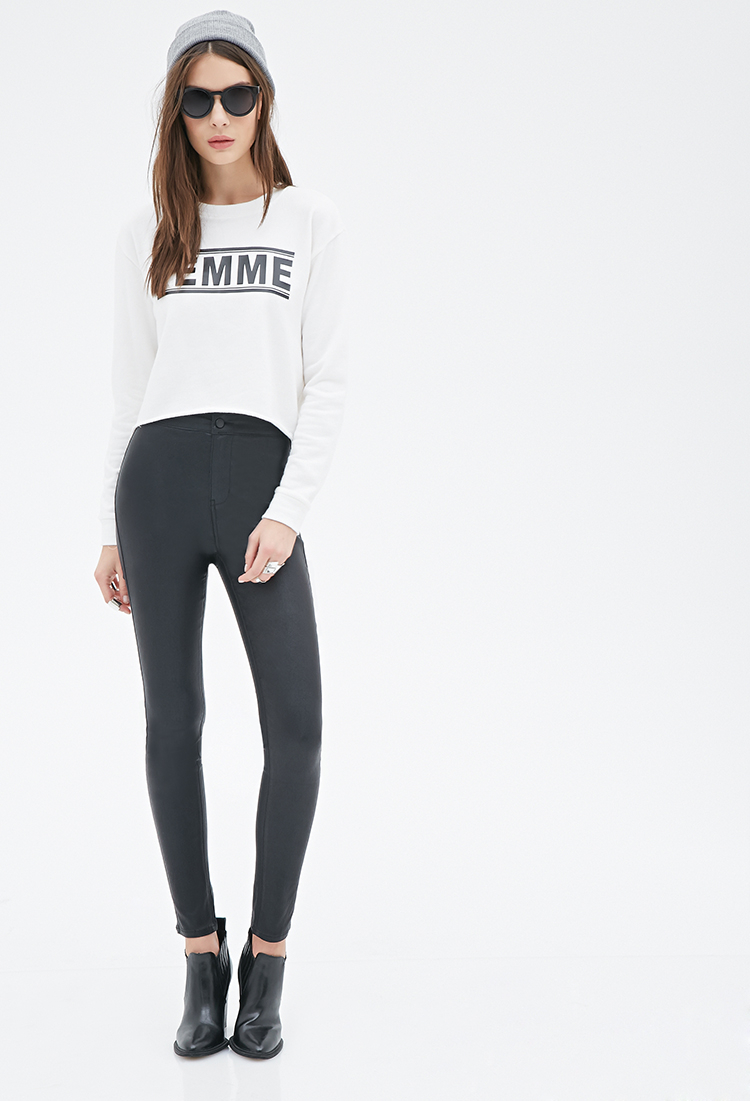 Gallery - Forever 21 High-waisted Skinny Pants In Black Lyst