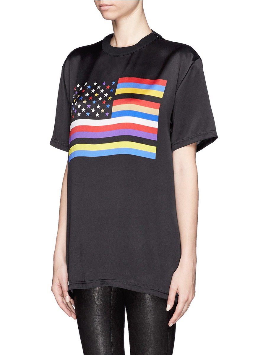 lyst givenchy american flag print silk t shirt in black