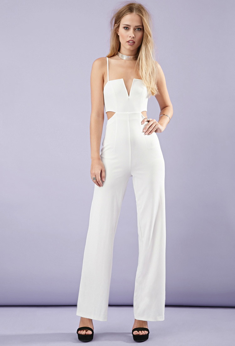 65b816de99c1 Lyst - Forever 21 Cutout-side Cami Jumpsuit in White