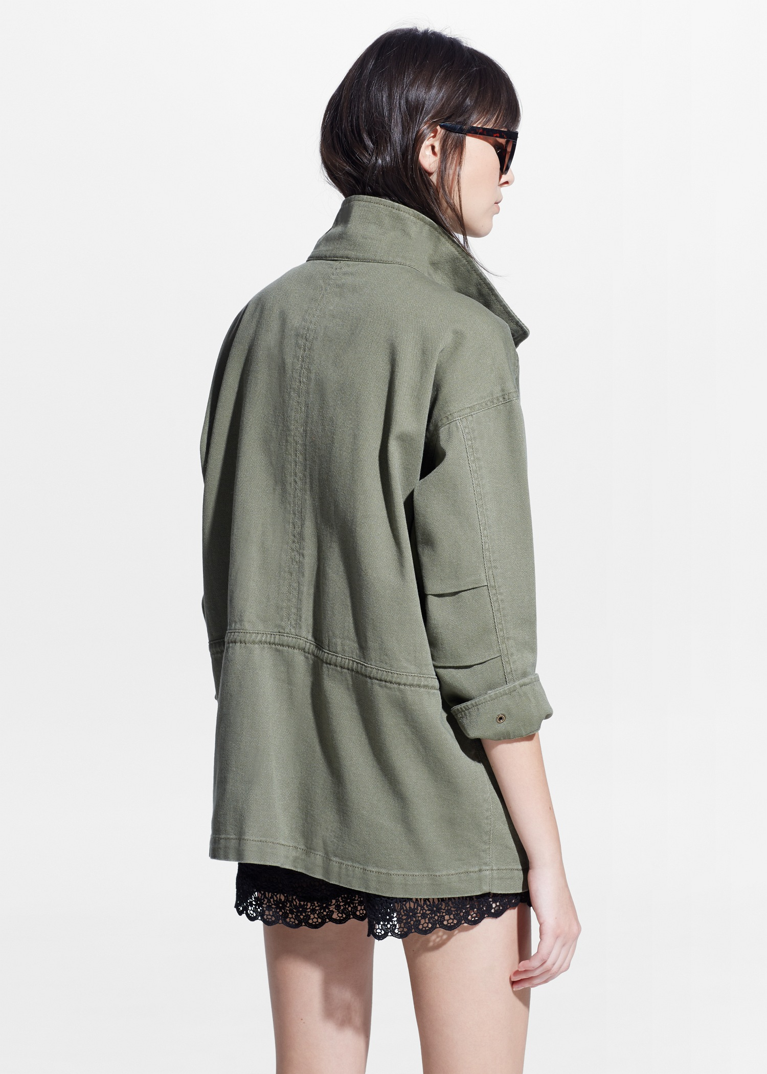 Mango Military-Style Jacket in Natural