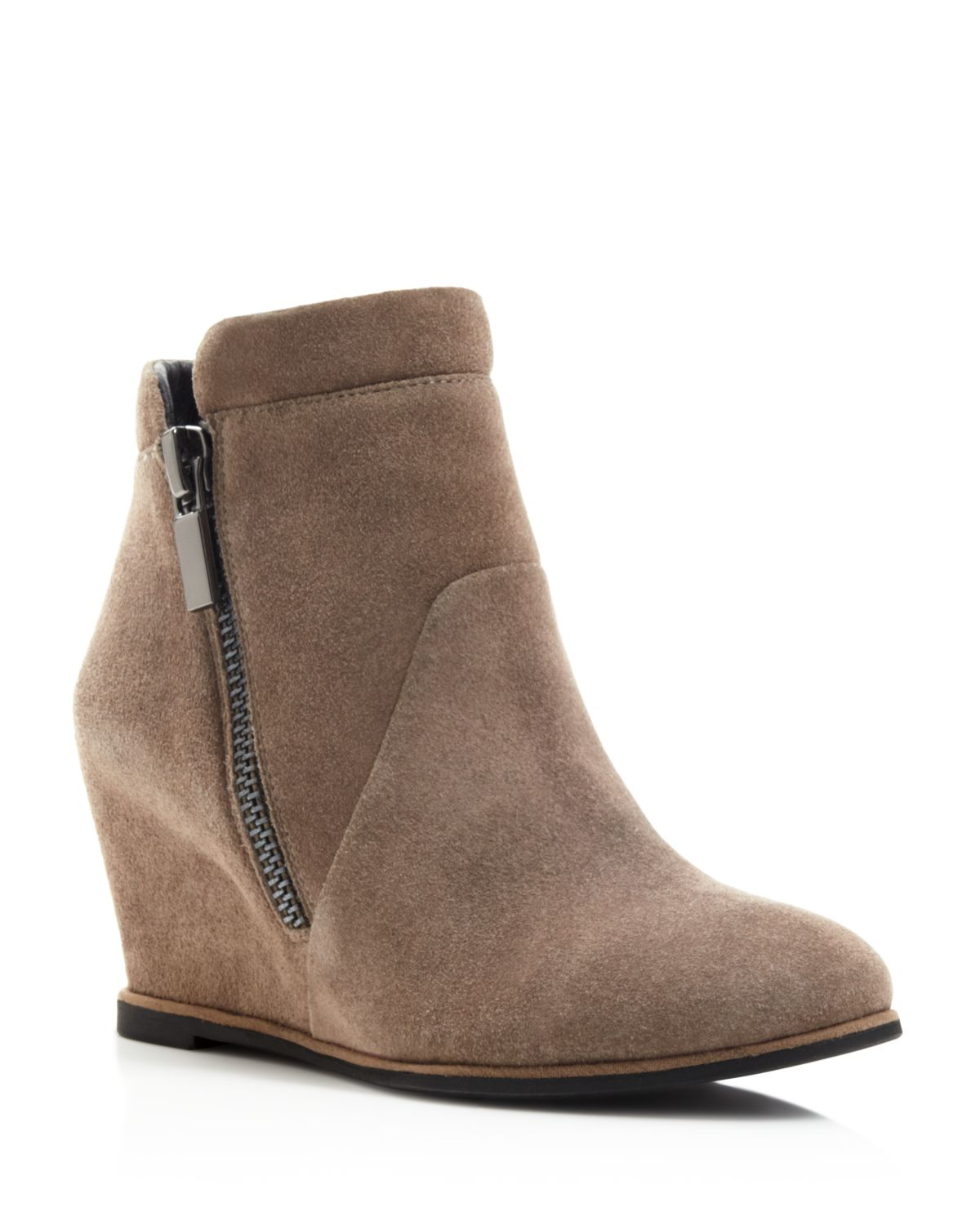 kenneth cole wedge booties in brown lyst