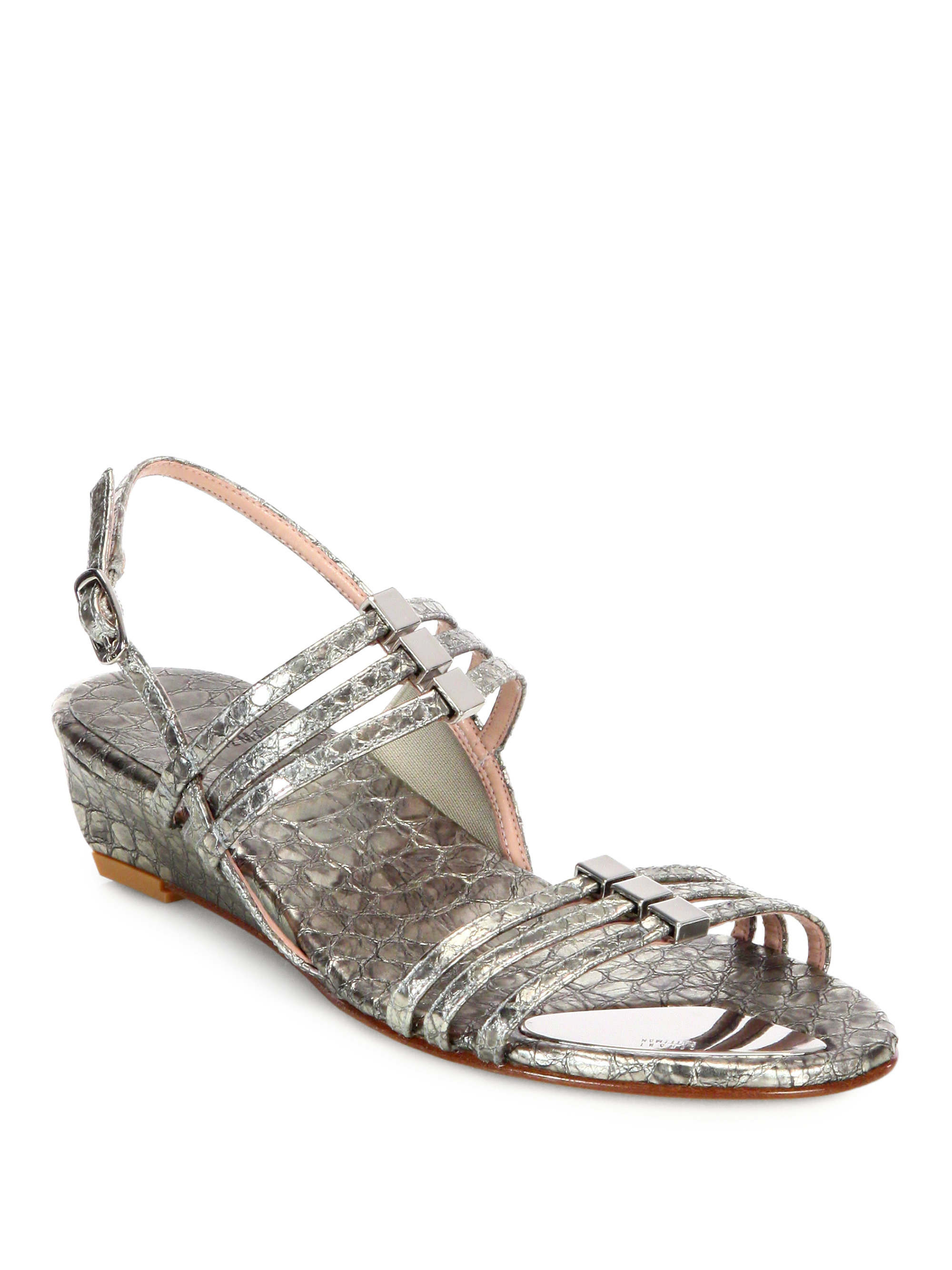 Stuart Weitzman Playful Snake Embossed Metallic Leather