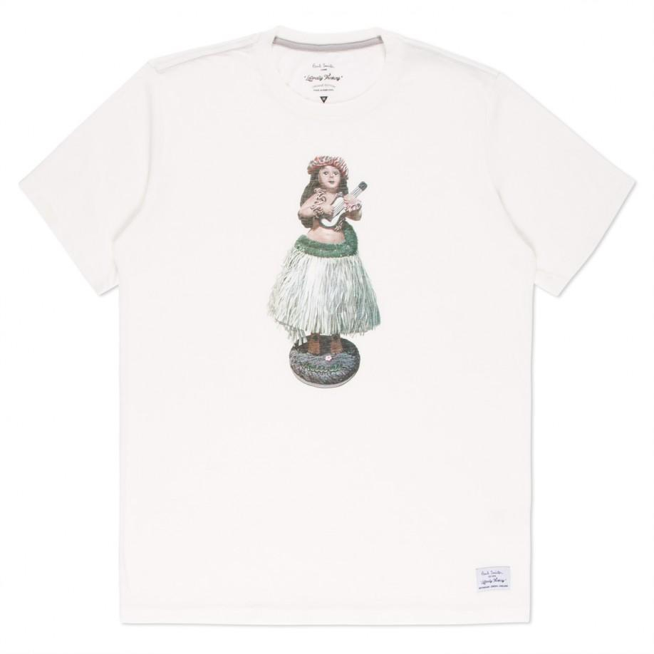 Paul smith white hula girl print organic cotton t shirt in for Natural cotton t shirts