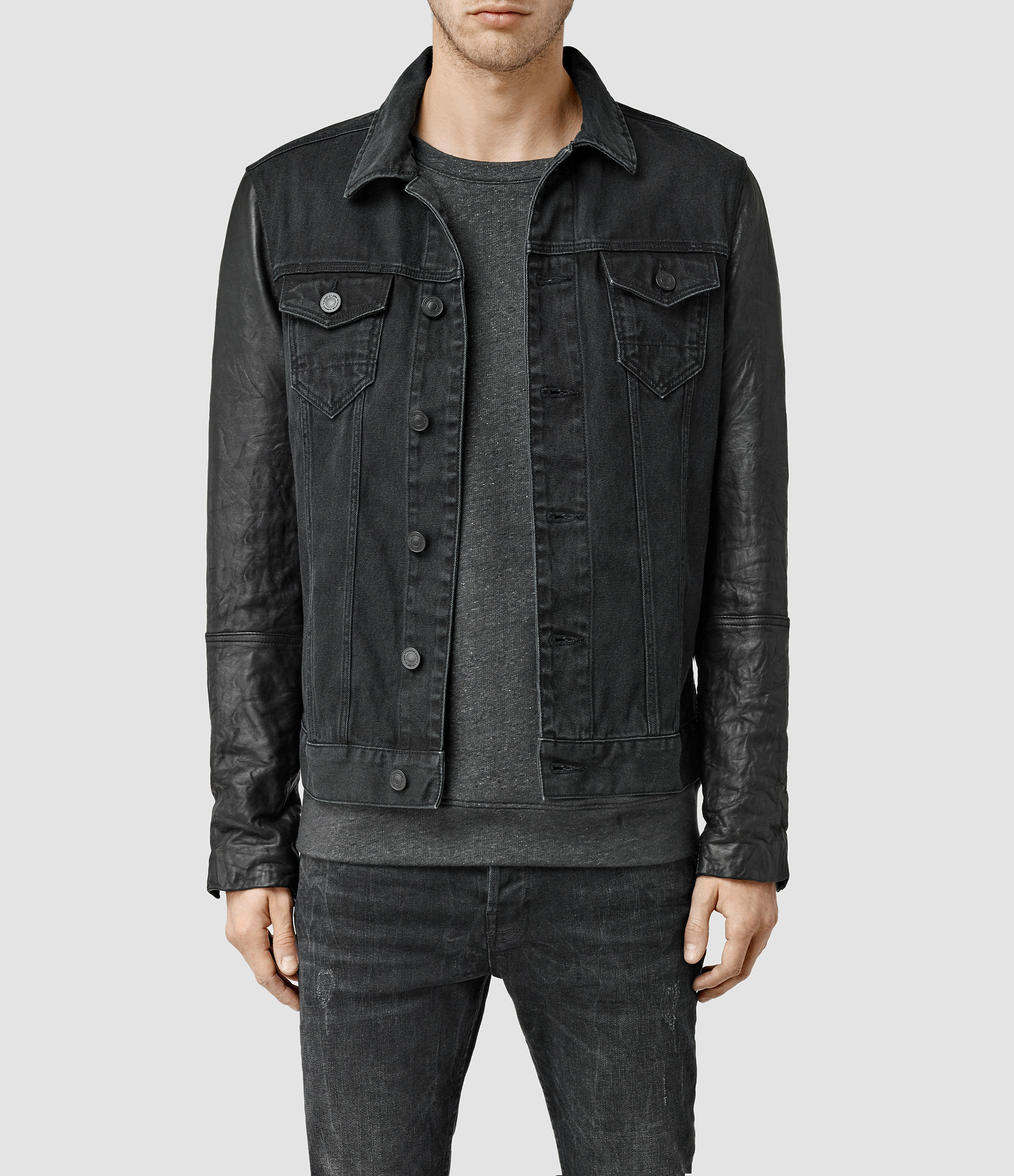 Allsaints Keston Denim Jacket in Gray for Men | Lyst