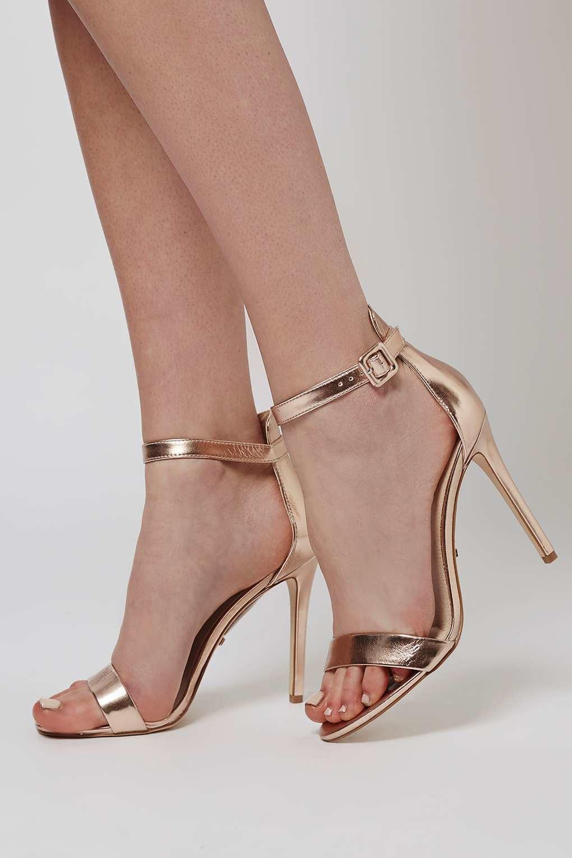 Topshop Rita Two Part Skinny Sandals In Metallic Lyst