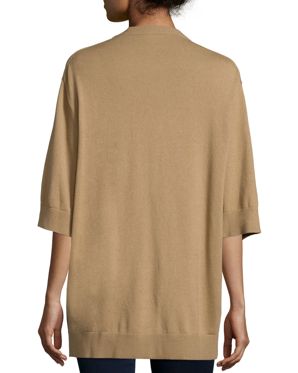 Michael kors Short-sleeve Button-front Cardigan in Natural | Lyst