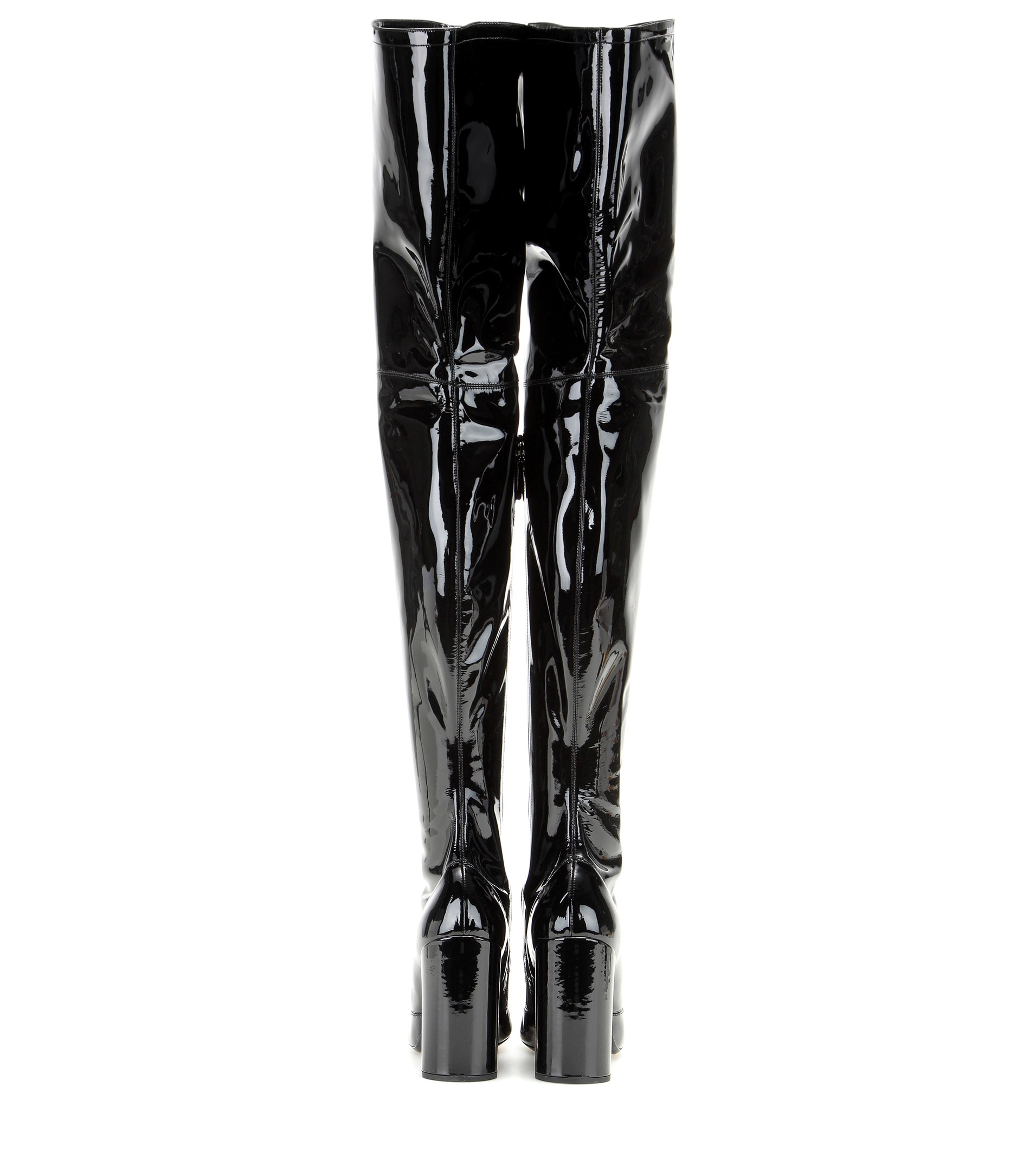 Marc jacobs Patent-Leather Over-The-Knee Boots in Black | Lyst