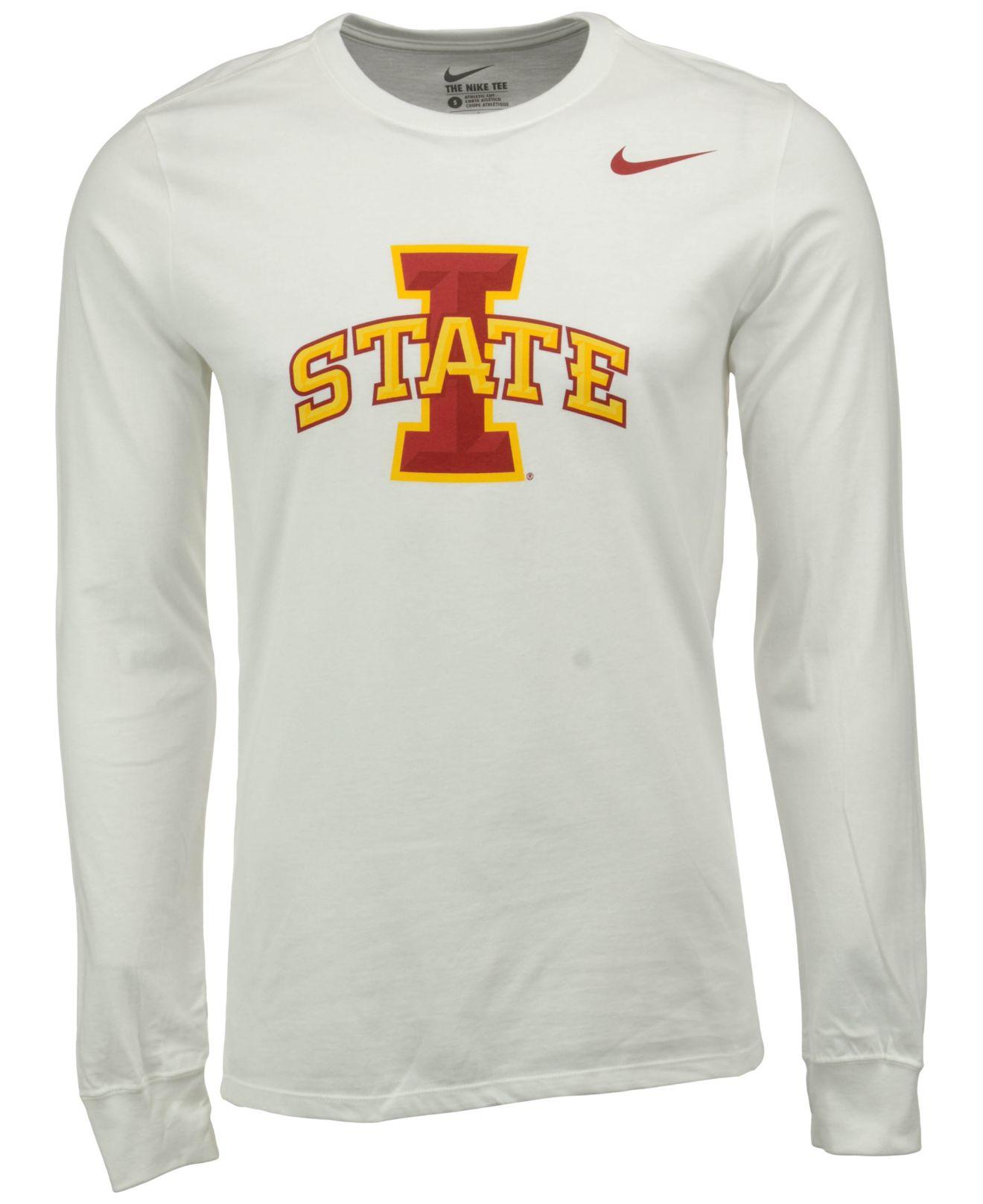 acb5923e Nike Men's Long-sleeve Iowa State Cyclones Big Logo T-shirt in White ...