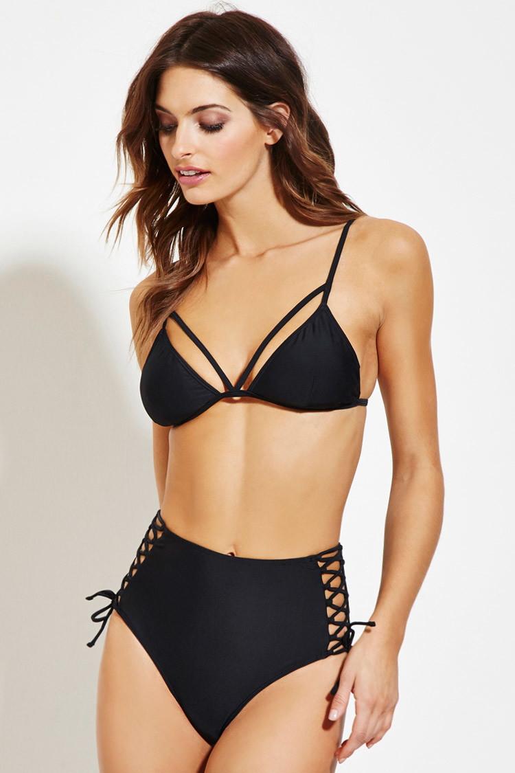 034a866fdd Lyst - Forever 21 Strappy Triangle Bikini Top in Black