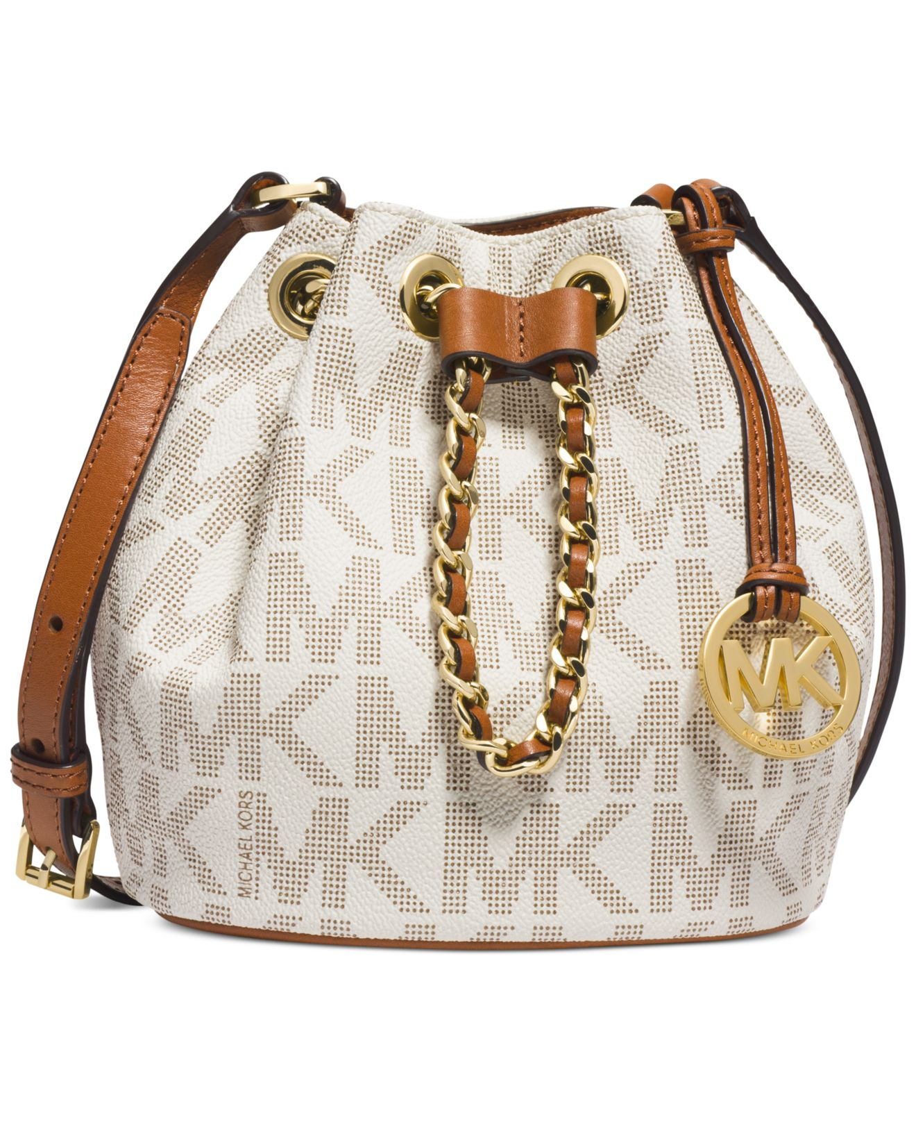 637e2ffc32e5 ... leather medium backpack bright red f05fc 22003; where can i buy lyst michael  kors michael frankie drawstring crossbody in white b64e0 3e83f