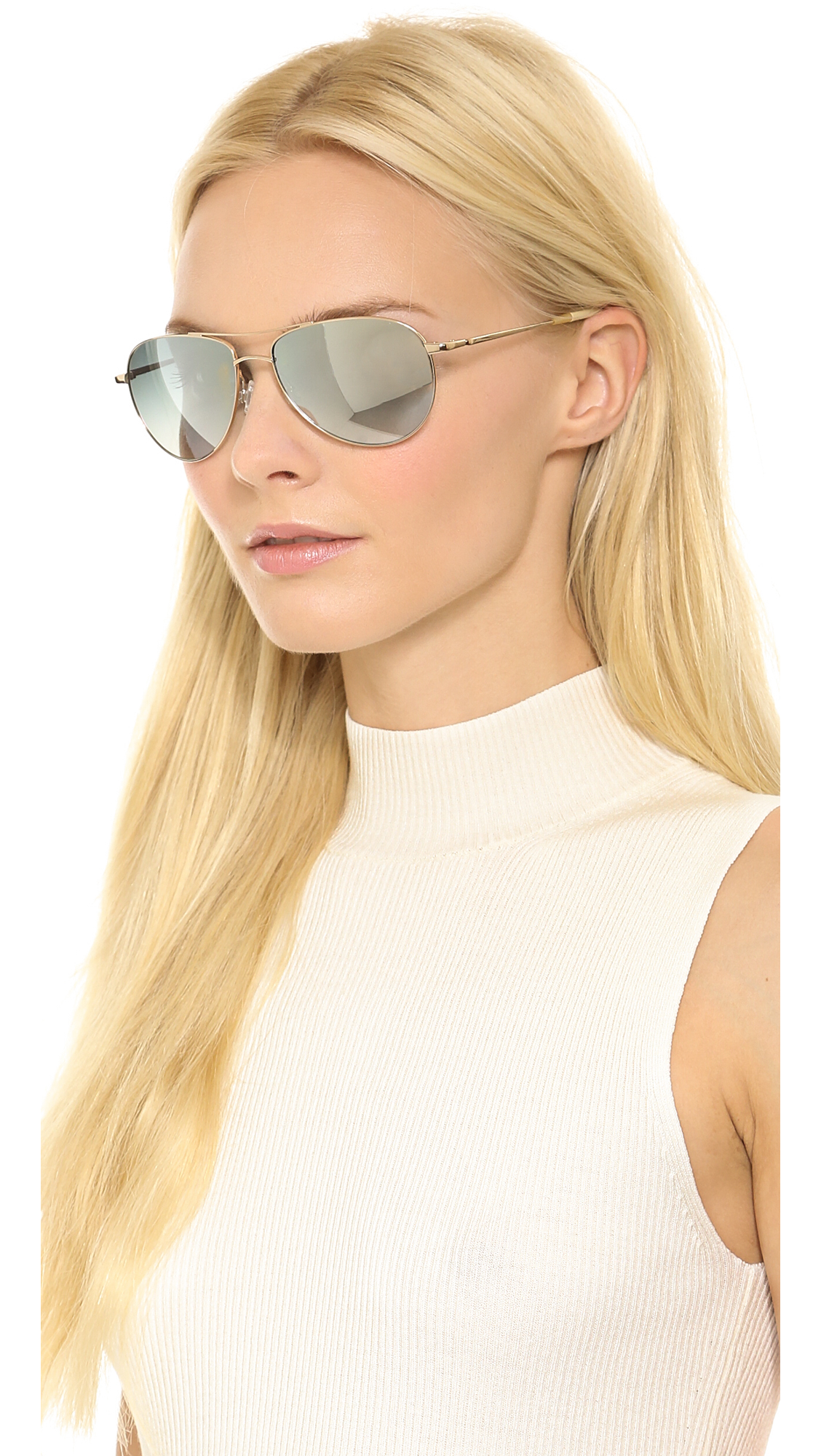 1da3c453ef28 Lyst - Oliver Peoples Benedict Mirrored Sunglasses - Gold Steel Mirror in  Pink