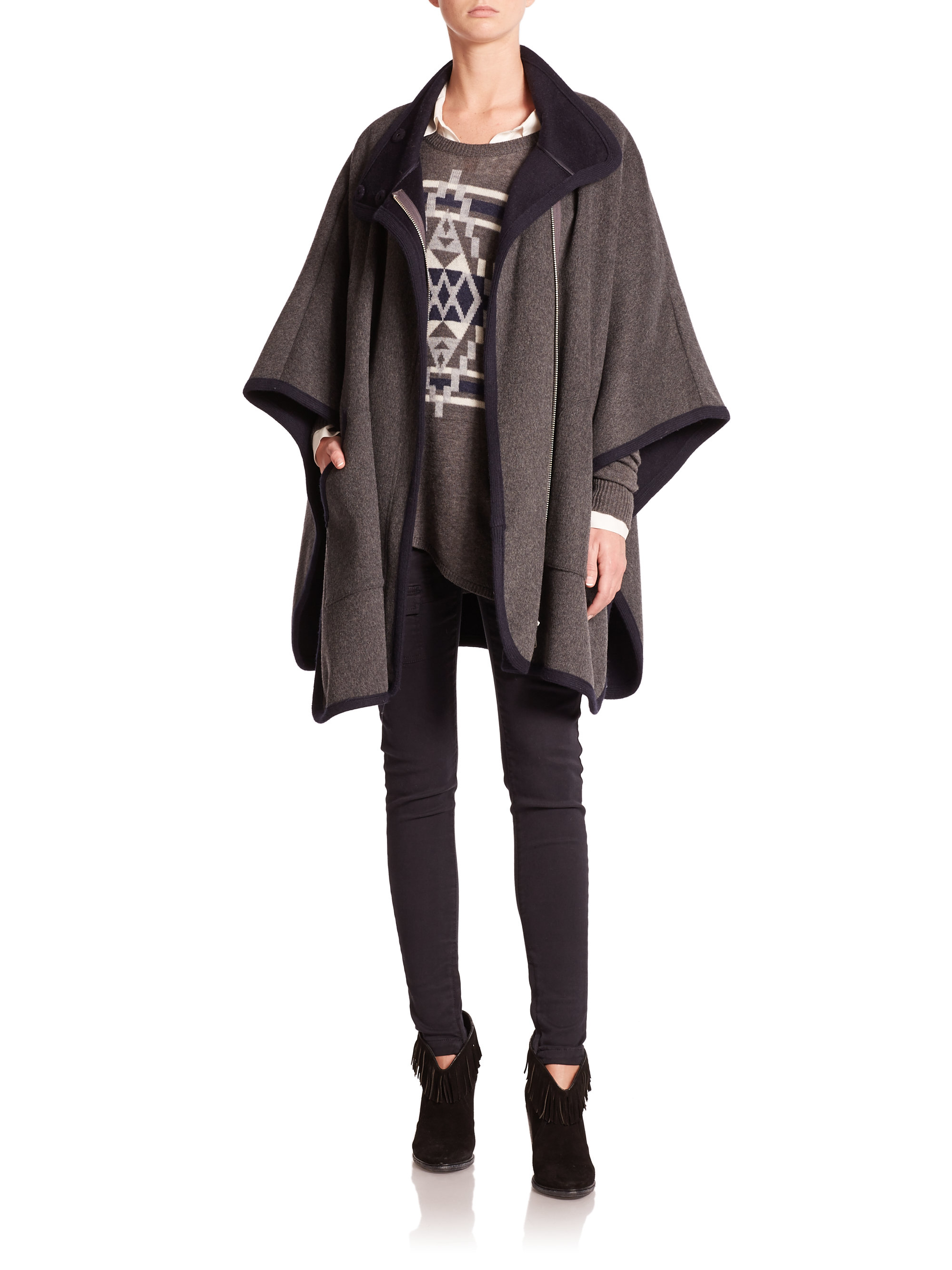 b1cb744a0 Joie Kenzie Double Face Wool Poncho in Gray - Lyst