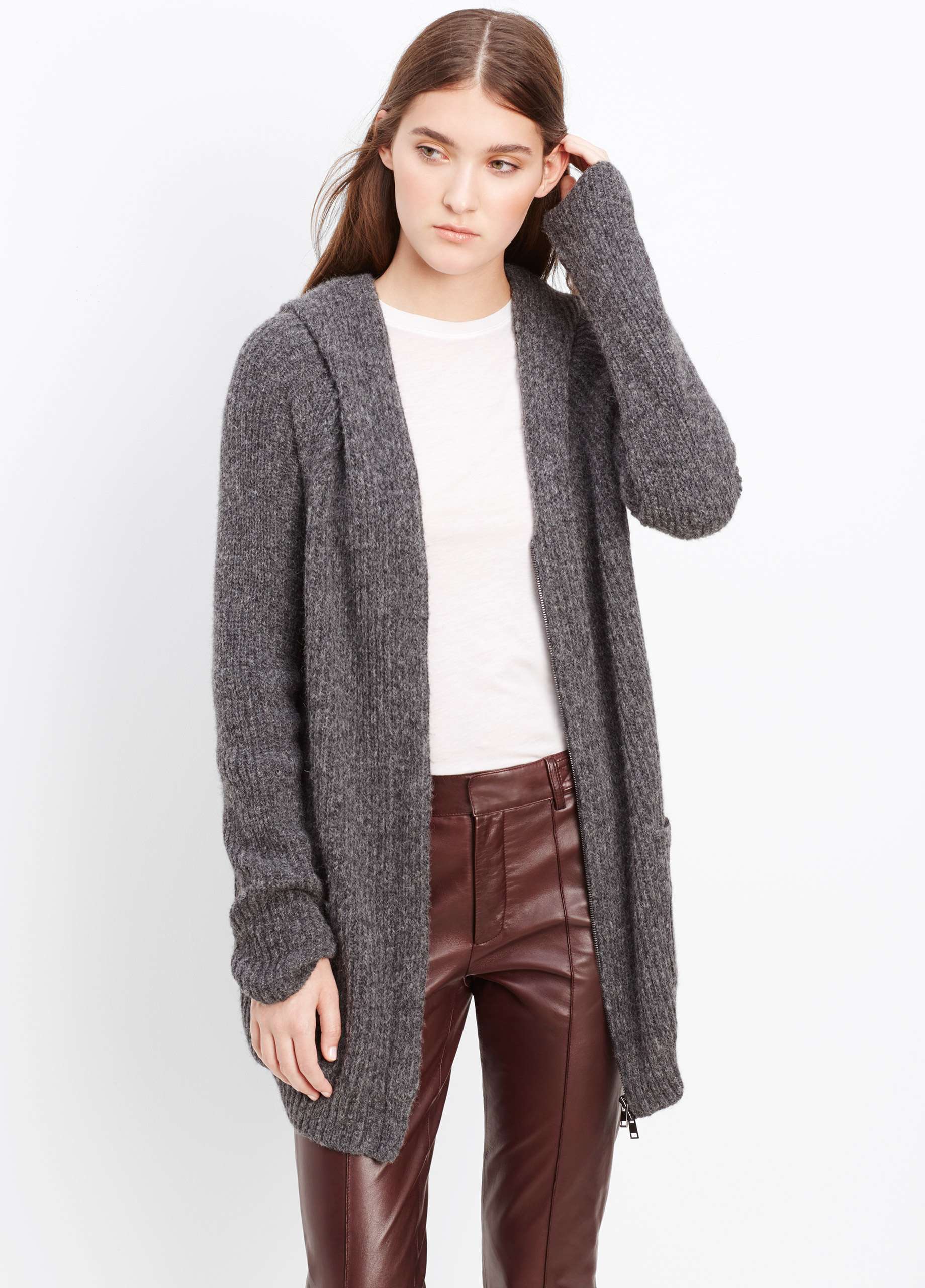Vince Hooded Shawl Collar Zip-up Cardigan in Gray | Lyst