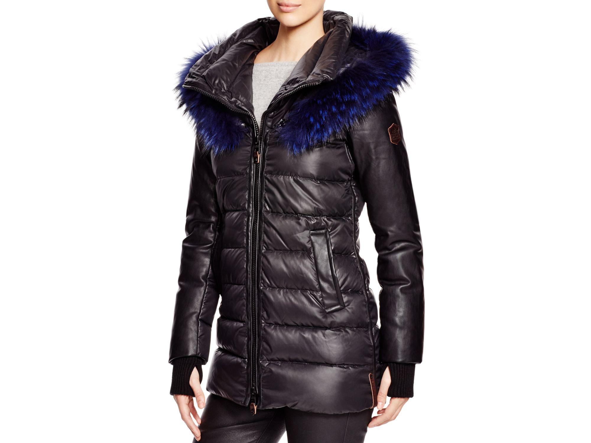 Nicole benisti Fur Trim Down Jacket in Black | Lyst