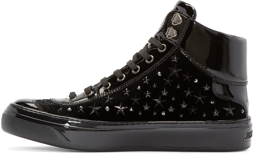 38d0e49f9209 Lyst - Jimmy Choo Black Velvet Stars Argyle High-top Sneakers in ...