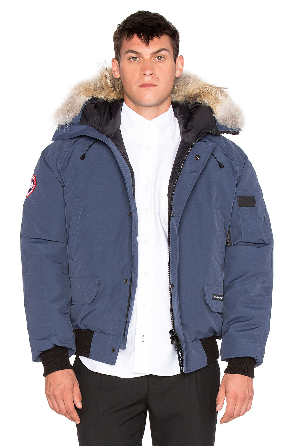 Canada Goose vest sale 2016 - Canada goose Chilliwack Coyote Fur Trim Bomber in Blue for Men ...