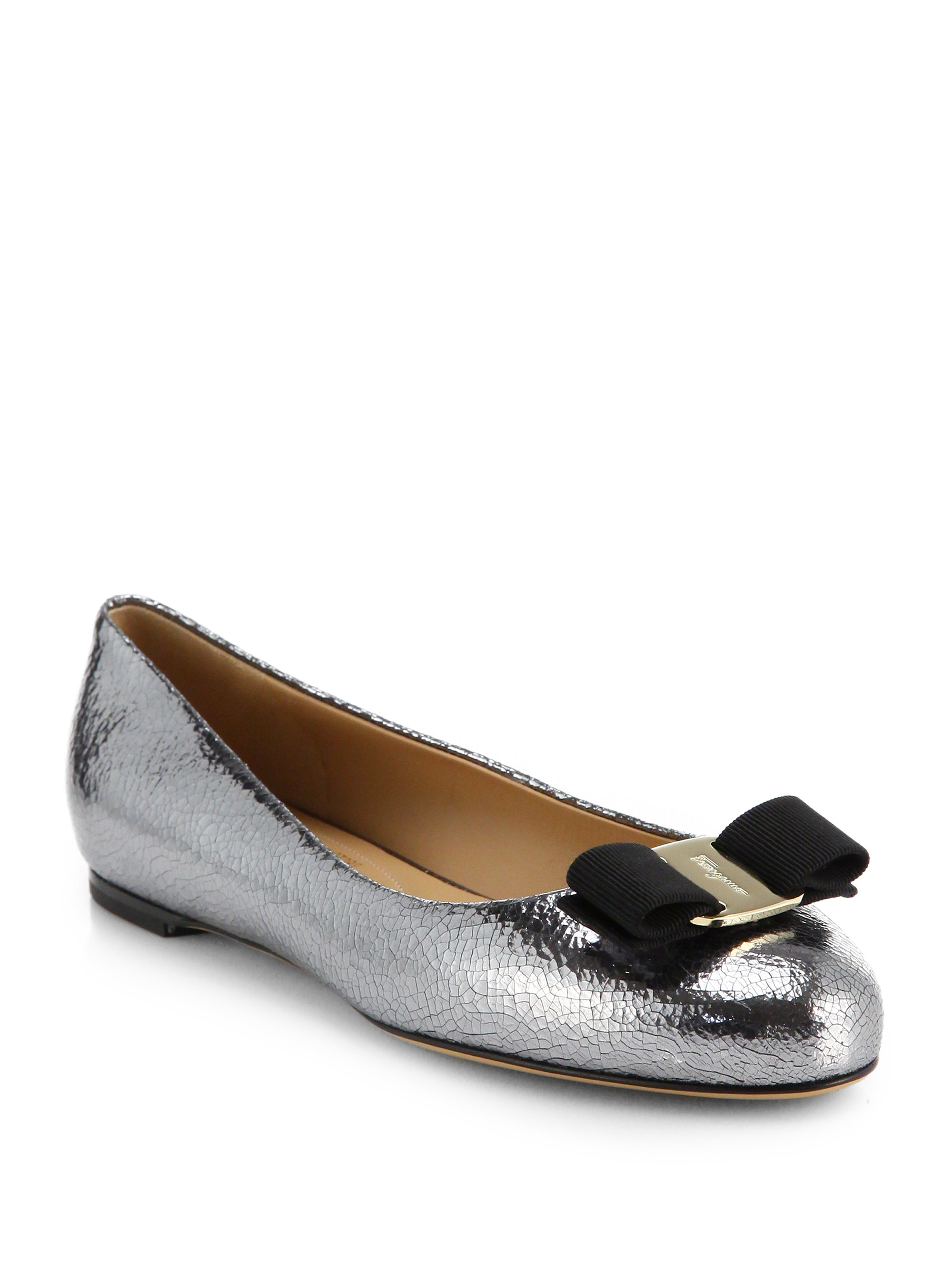Lyst Ferragamo Varina Crackled Metallic Leather Bow