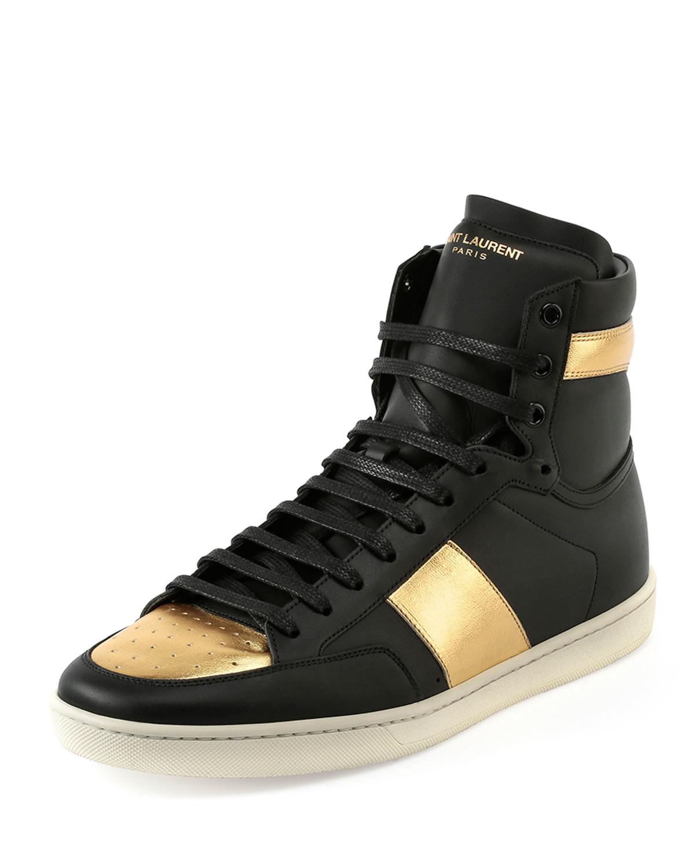 saint laurent sl 18h leather high top sneaker in metallic for men lyst. Black Bedroom Furniture Sets. Home Design Ideas