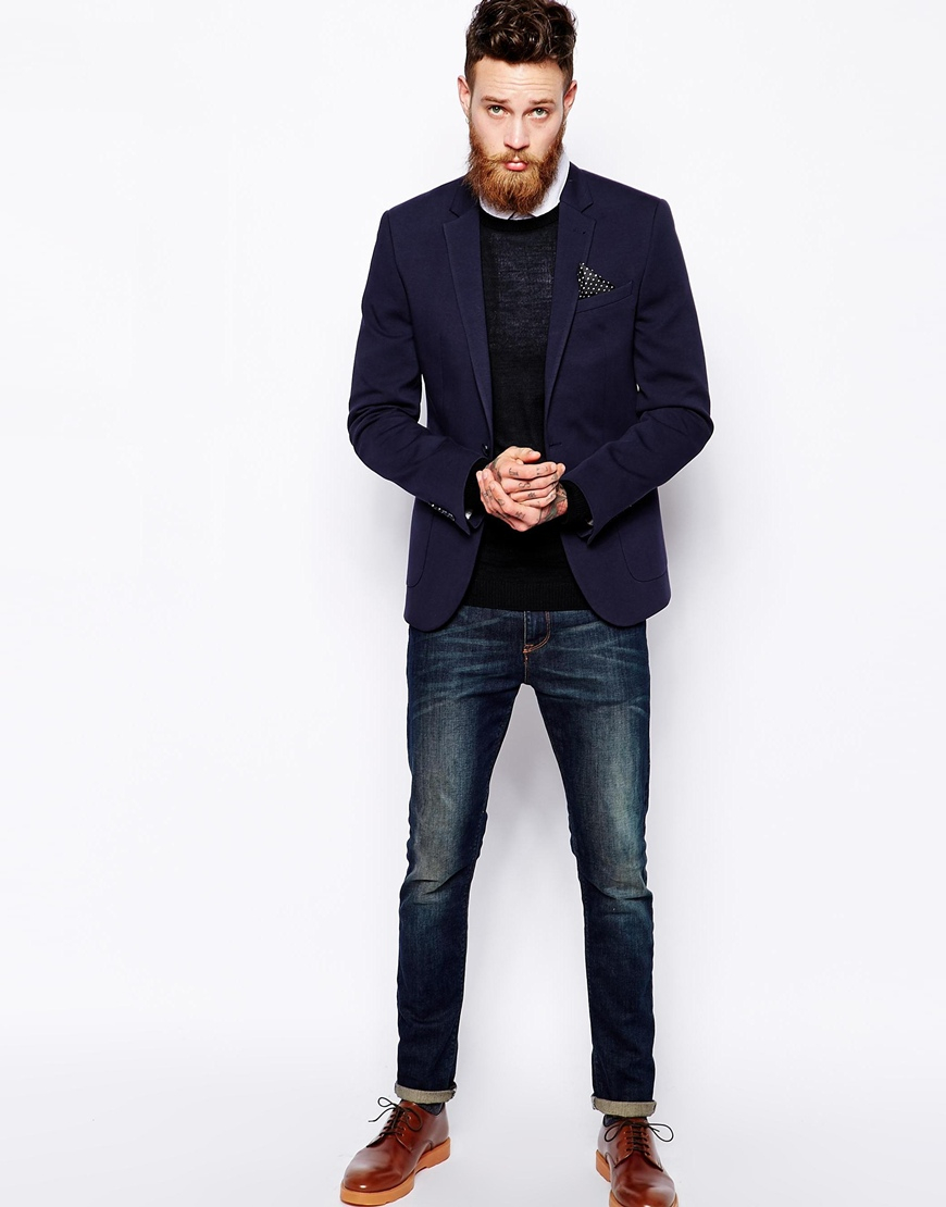 asos slim fit blazer in jersey in blue for men lyst. Black Bedroom Furniture Sets. Home Design Ideas