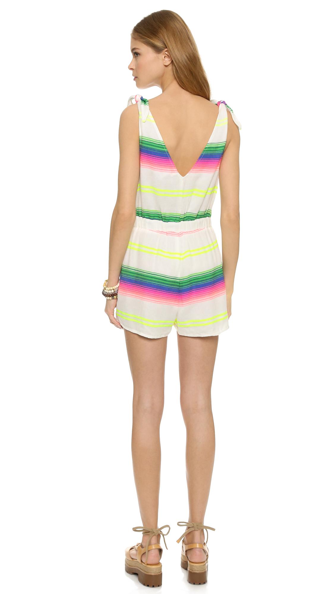 5cbcc2bb6623 Lyst - Mara Hoffman Beach Romper - Rainbow Stripe Gauze
