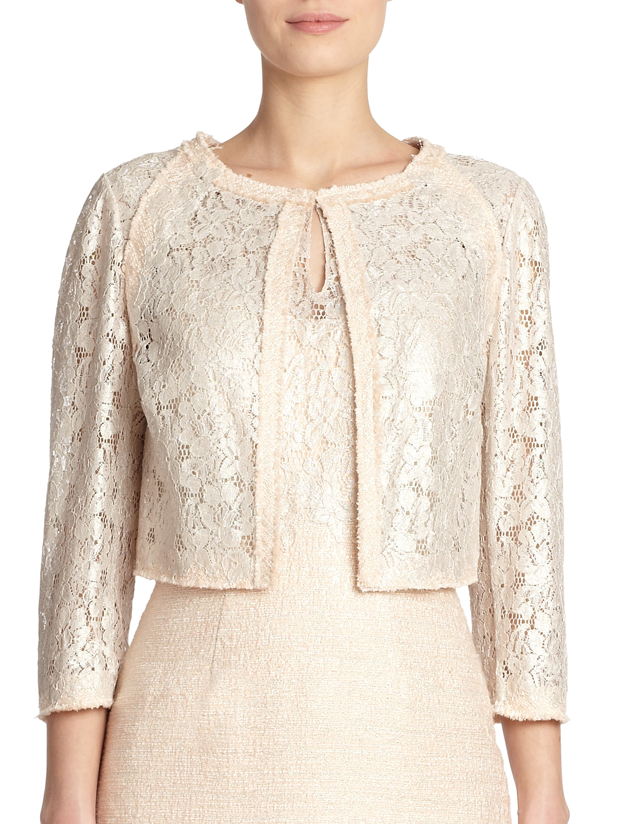 Wedding Lace Jacket kay unger tweed lace jacket in natural lyst gallery