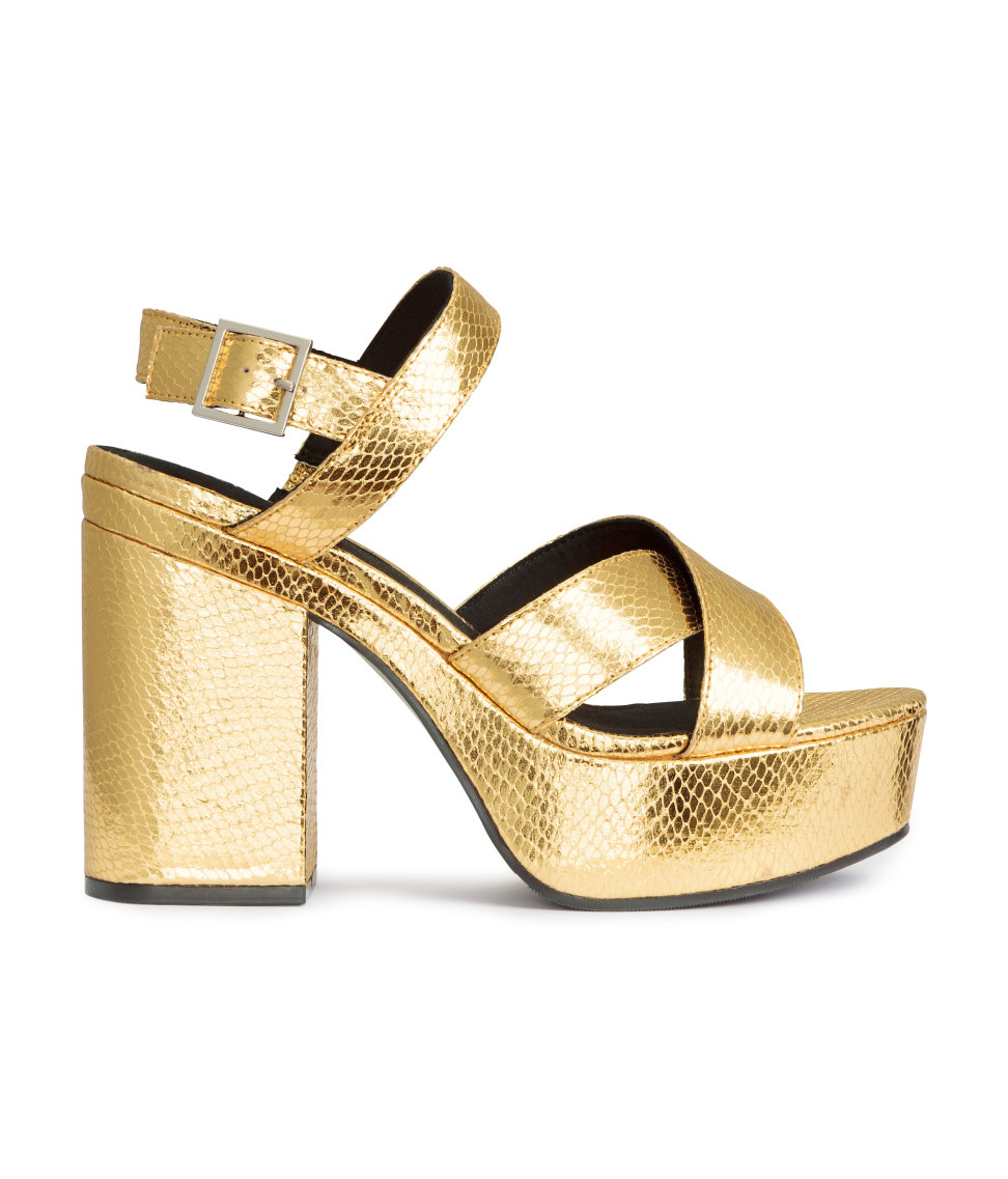 h m platform sandals in metallic lyst