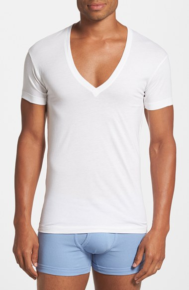 2xist Slim Fit Pima Cotton Deep V Neck T Shirt In White