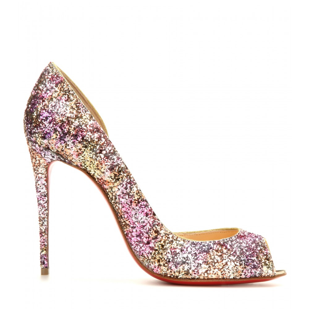 973910fc10 Christian Louboutin Demi You 100 Glitter Peep-toe Pumps in Metallic ...