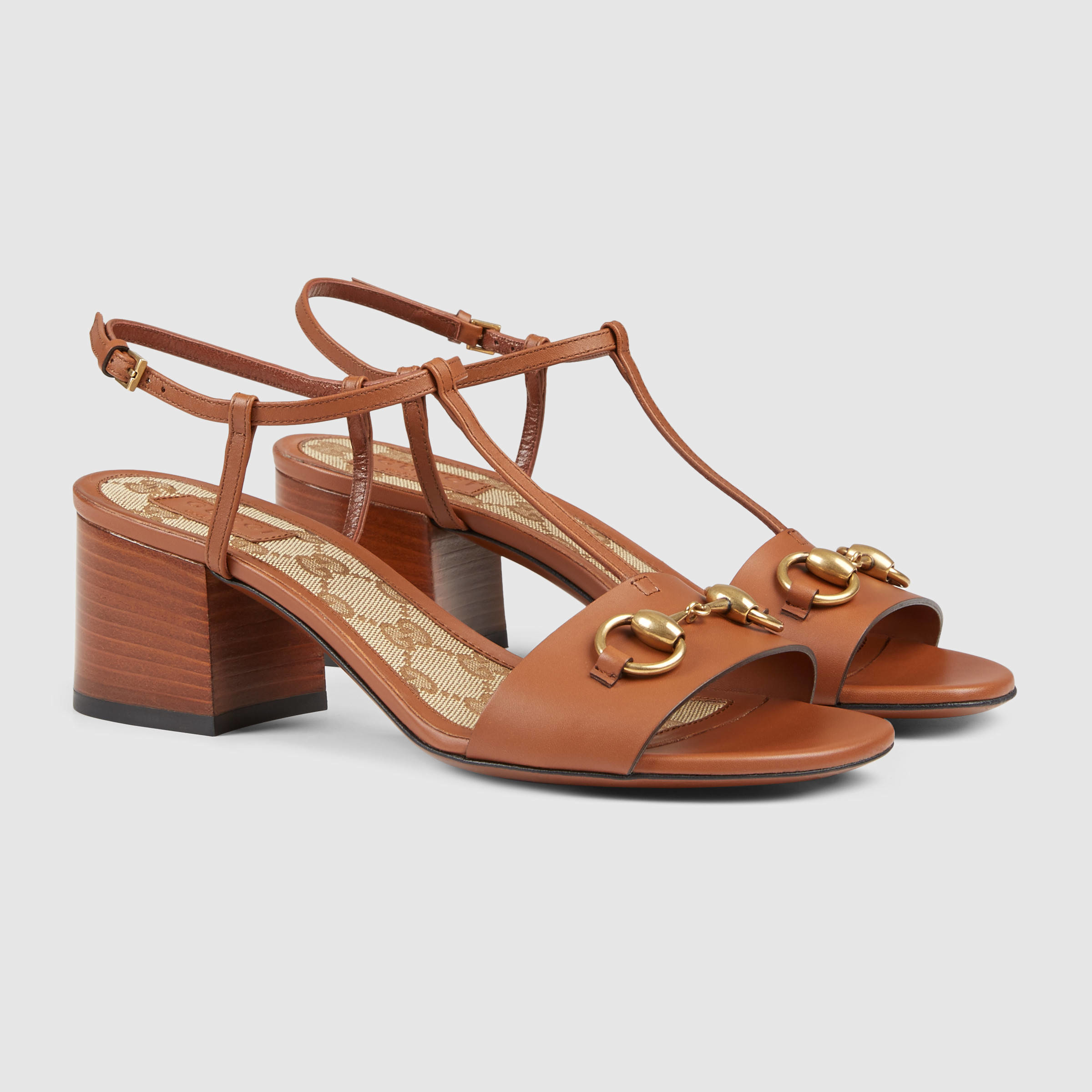 94ff8db6779 Lyst - Gucci Leather Mid-heel Sandal in Brown