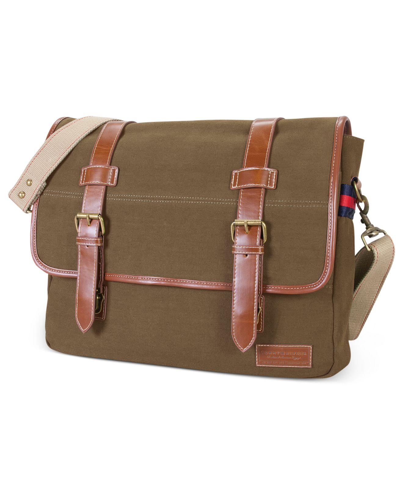 tommy hilfiger east west flapover messenger bag in green. Black Bedroom Furniture Sets. Home Design Ideas