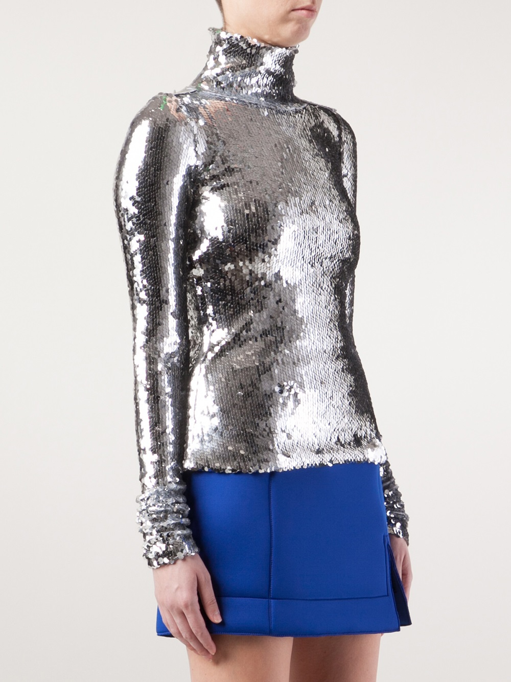 Atto sequin blouse in metallic lyst for Silver metallic shirt women s