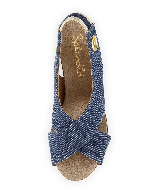 Splendid Dani Canvas Crisscross Wedge Sandal In Blue Navy