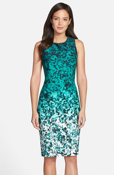 Lyst Vince Camuto Ombre Floral Print Sleeveless Sheath