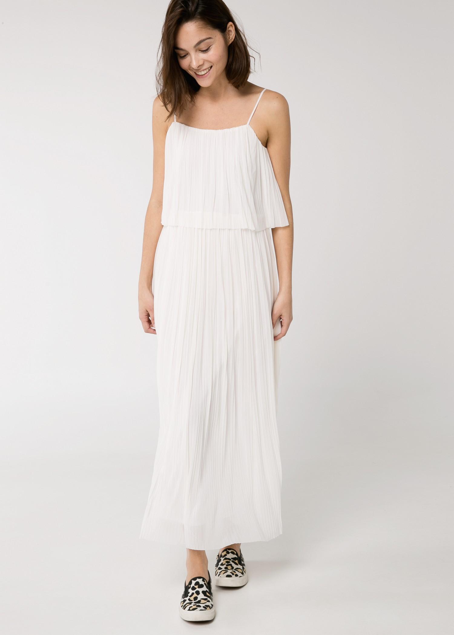 Lyst Mango Pleated Long Dress In White