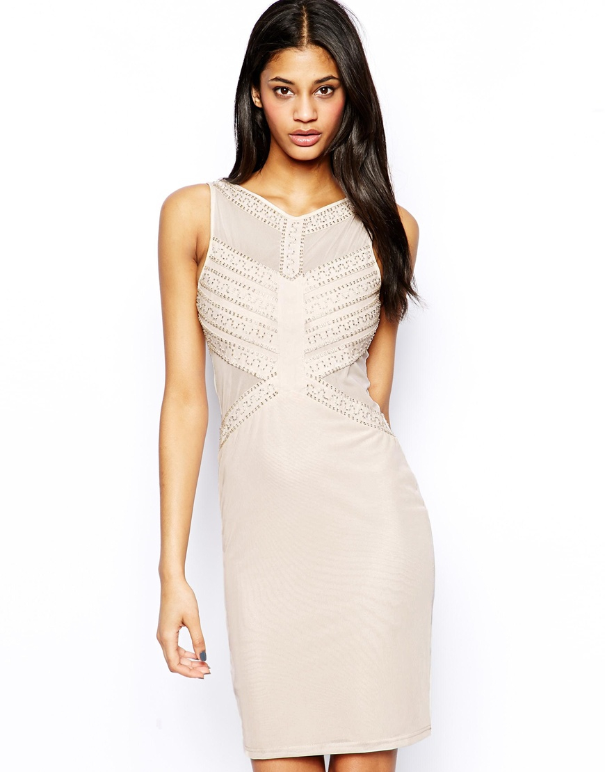 a4cc6fd20d Lyst - TFNC London Bodycon Dress with Mesh and Beaded Embellishment ...