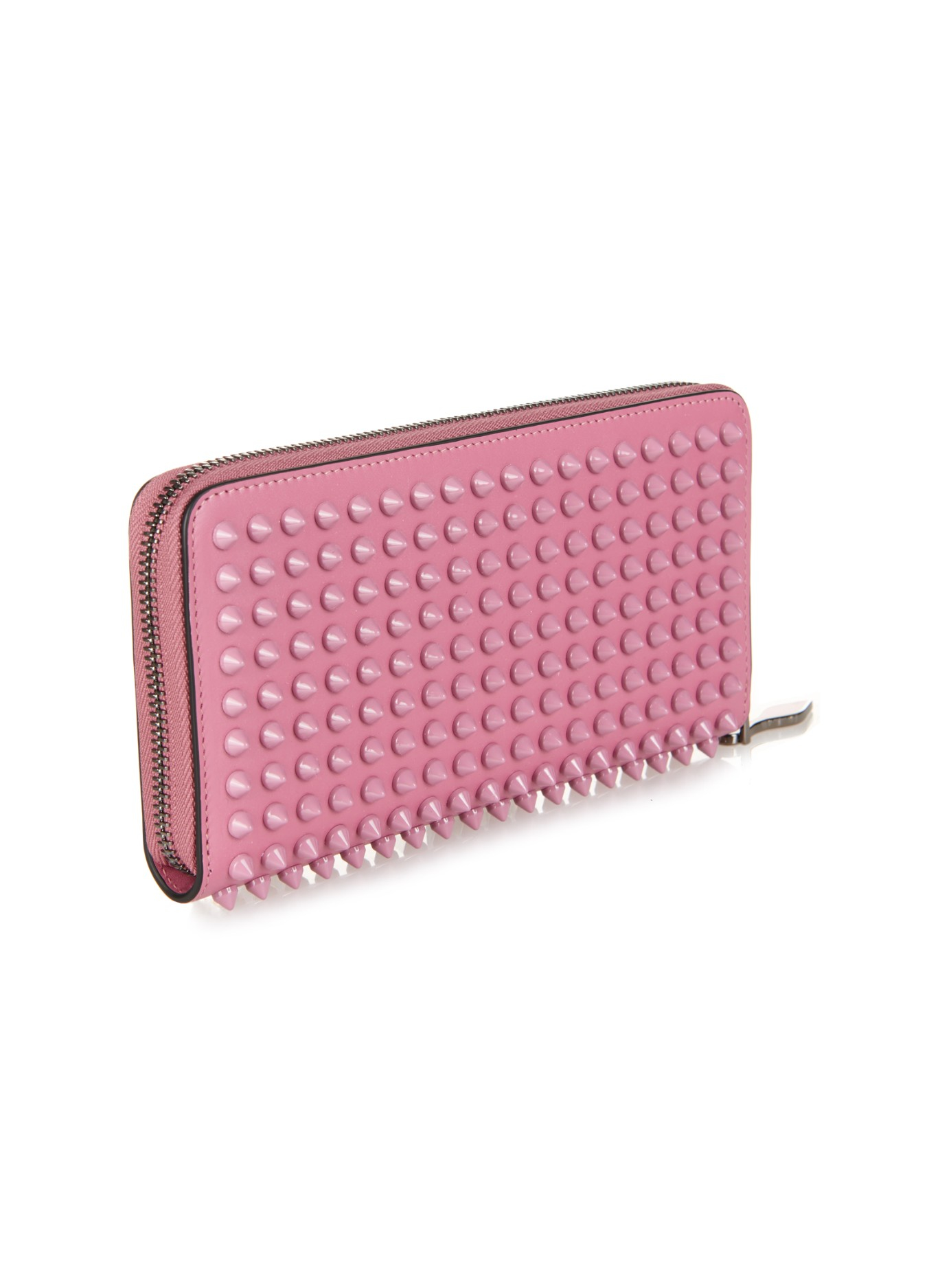 Panettone pink leather spike wallet Christian Louboutin Ls39mX