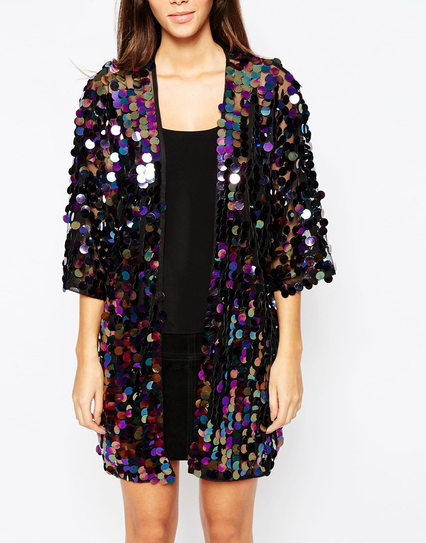 Oh my love Iridescent Sequin Kimono Jacket in Blue | Lyst