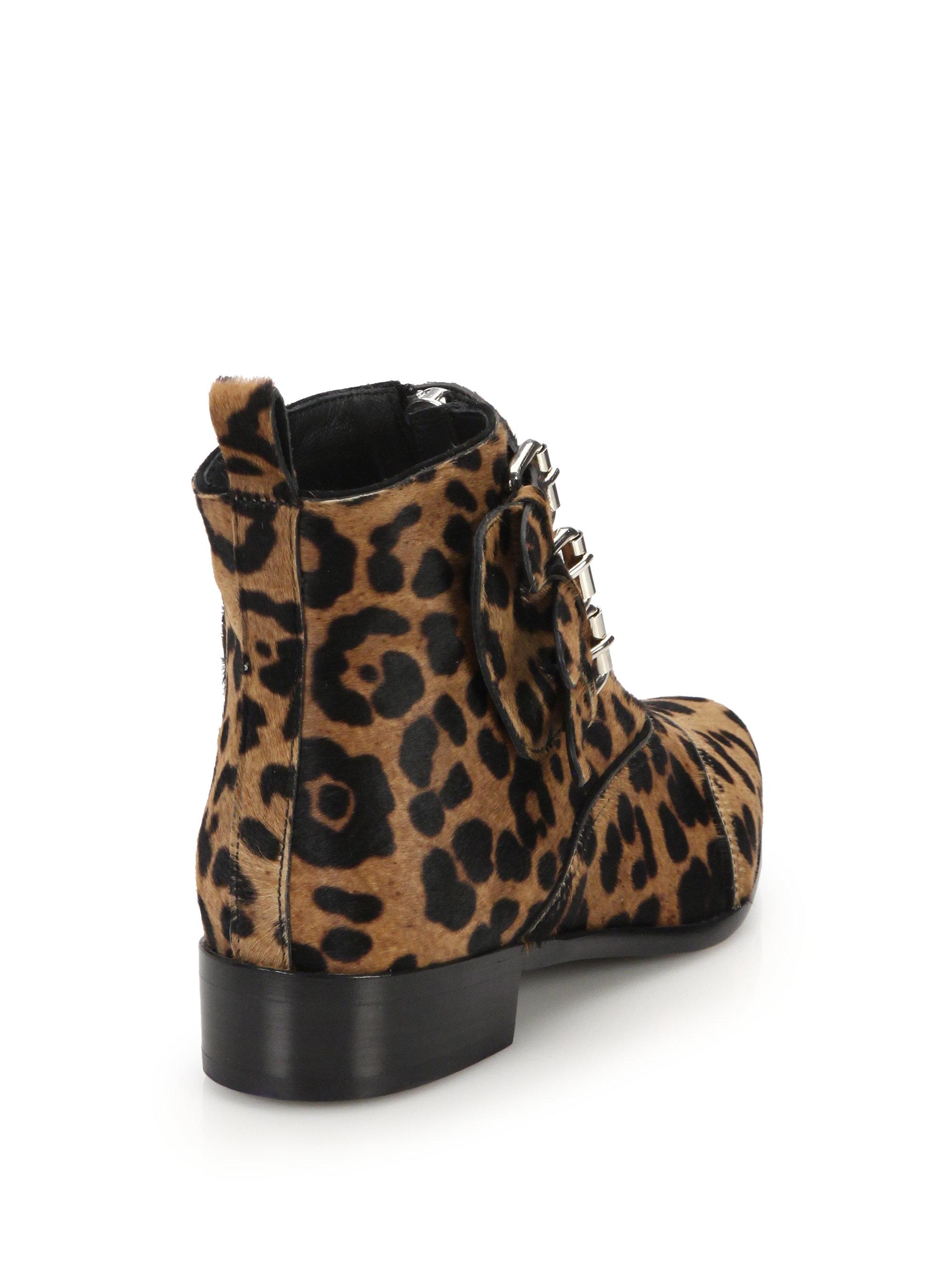 Tabitha Simmons Early Leopard Print Calf Hair Ankle Boots