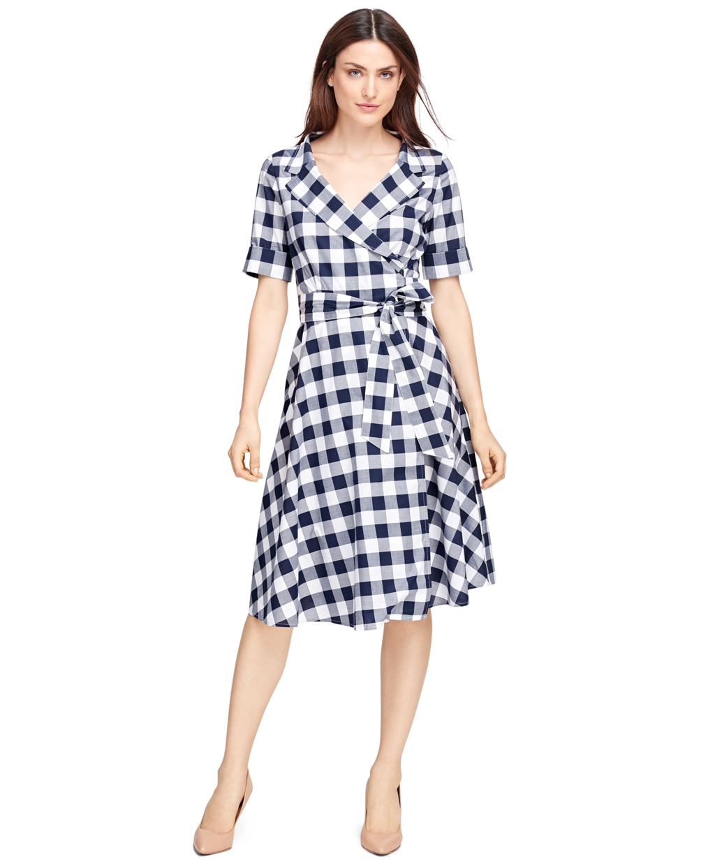 Brooks brothers Cotton Check Wrap Dress in Blue | Lyst