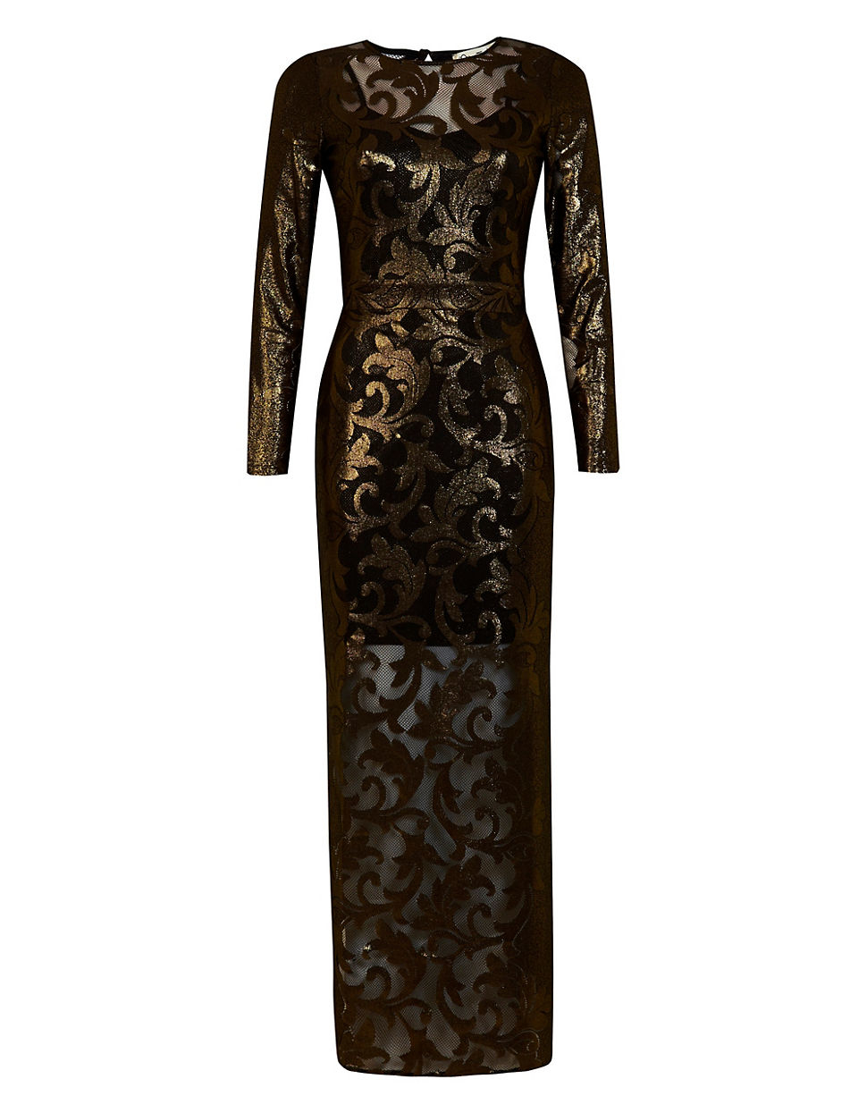 Miss selfridge black and gold dress
