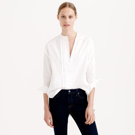 J crew white thomas mason collarless tuxedo shirt lyst for Thomas mason dress shirts