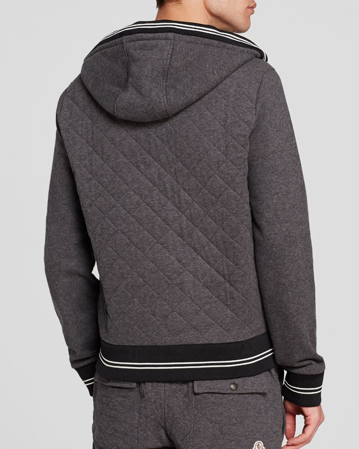 Lyst Moncler Maglia Quilted Cardigan In Gray For Men