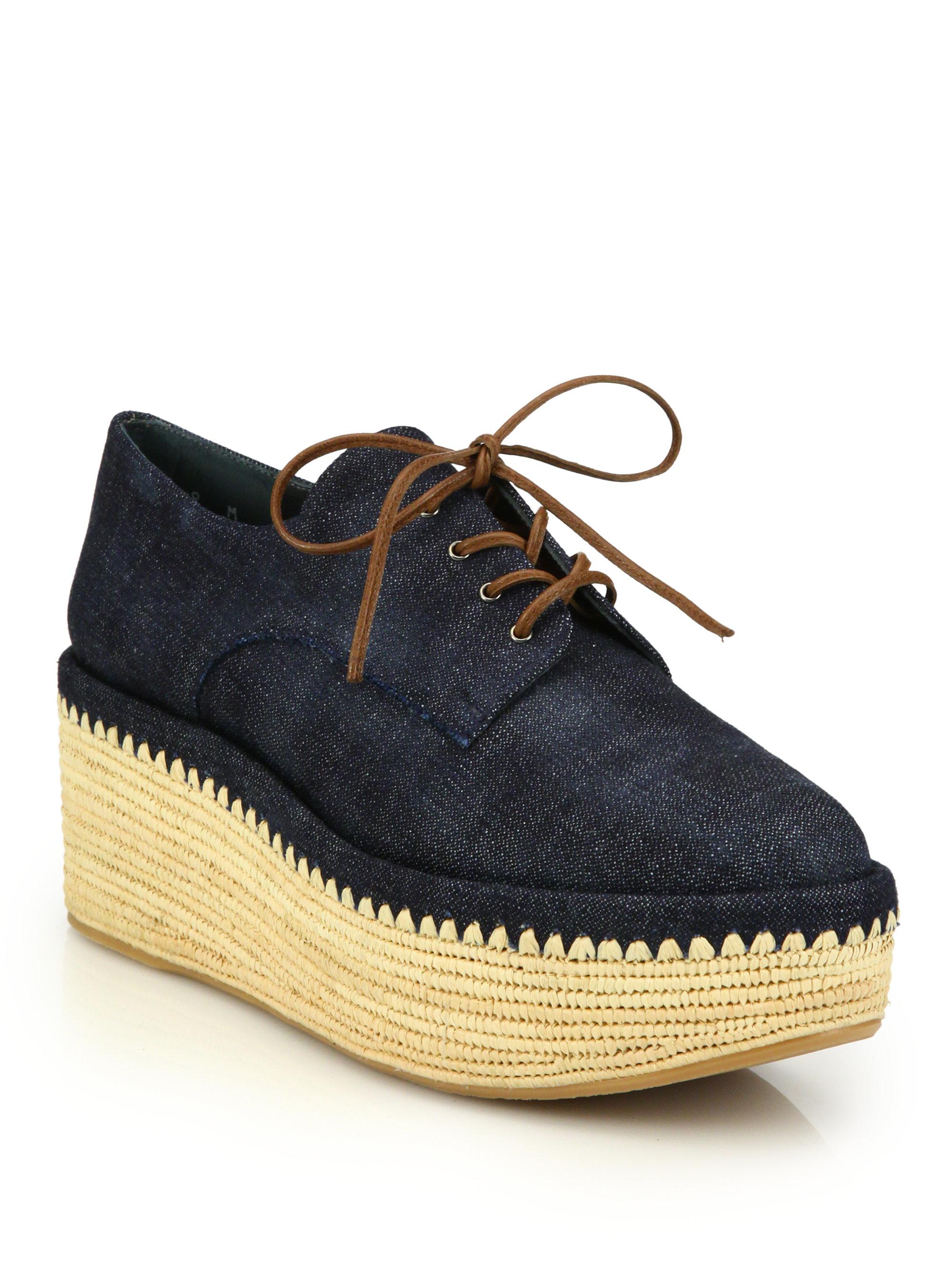 2e6ccb29d57 Lyst - Stuart Weitzman Kent Raffia Denim Platform Creeper Shoes in Blue