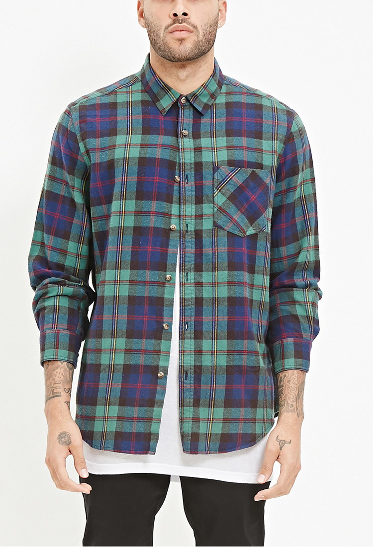 Forever 21 Tartan Plaid Flannel Shirt In Green For Men Lyst