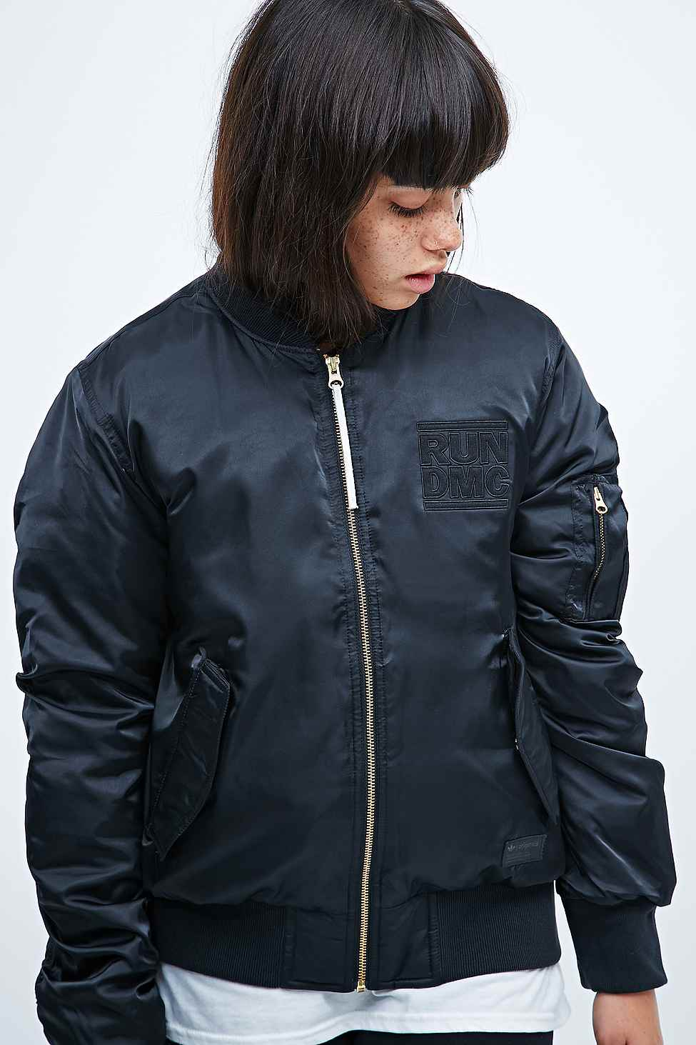 4336c75ef06a adidas Run Dmc Bomber Jacket In Black in Black - Lyst