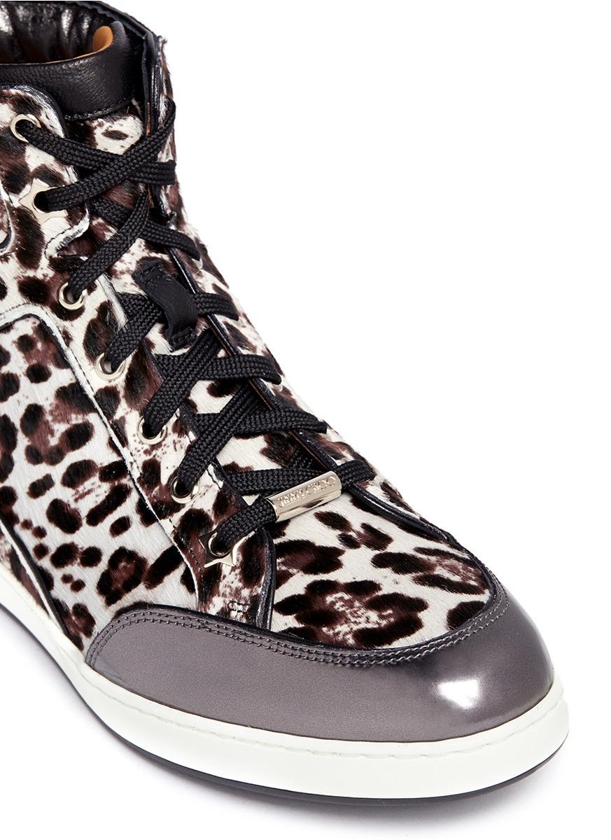 e74ac1fbfae0 ... australia lyst jimmy choo tokyo leopard print pony hair high top  sneakers 8eac8 ef161