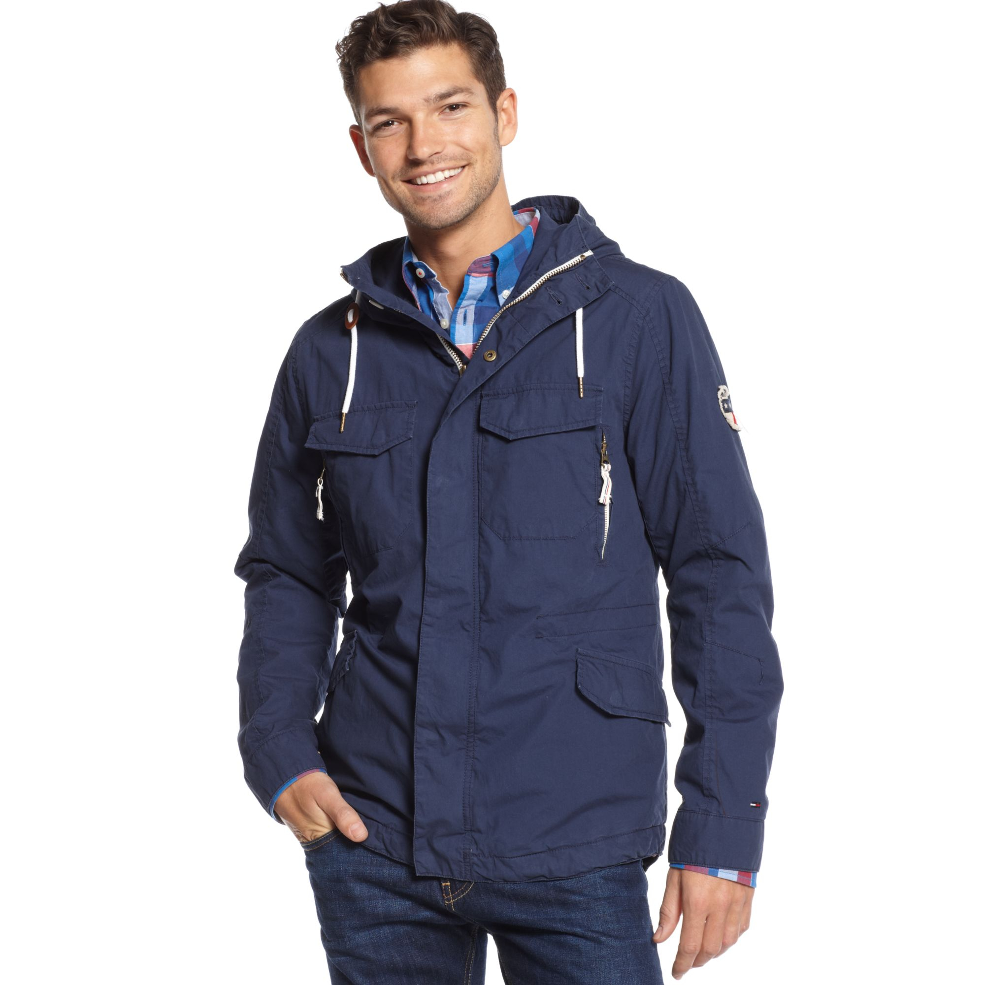 tommy hilfiger zip front nico parka in blue for men lyst. Black Bedroom Furniture Sets. Home Design Ideas