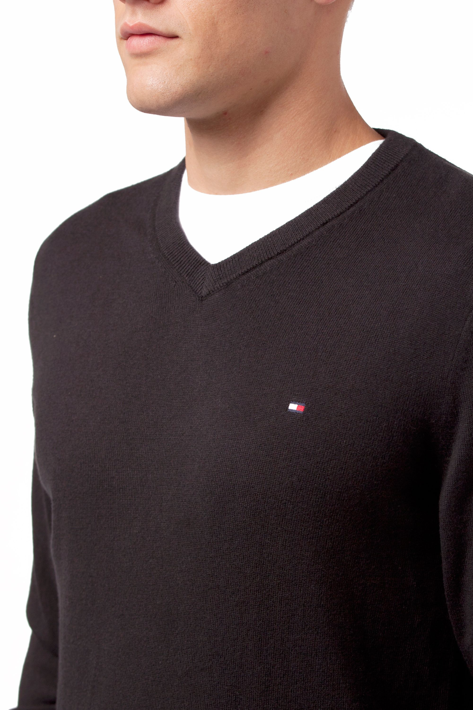 Tommy hilfiger Cotton Cashmere V-neck Sweater in Black for Men | Lyst