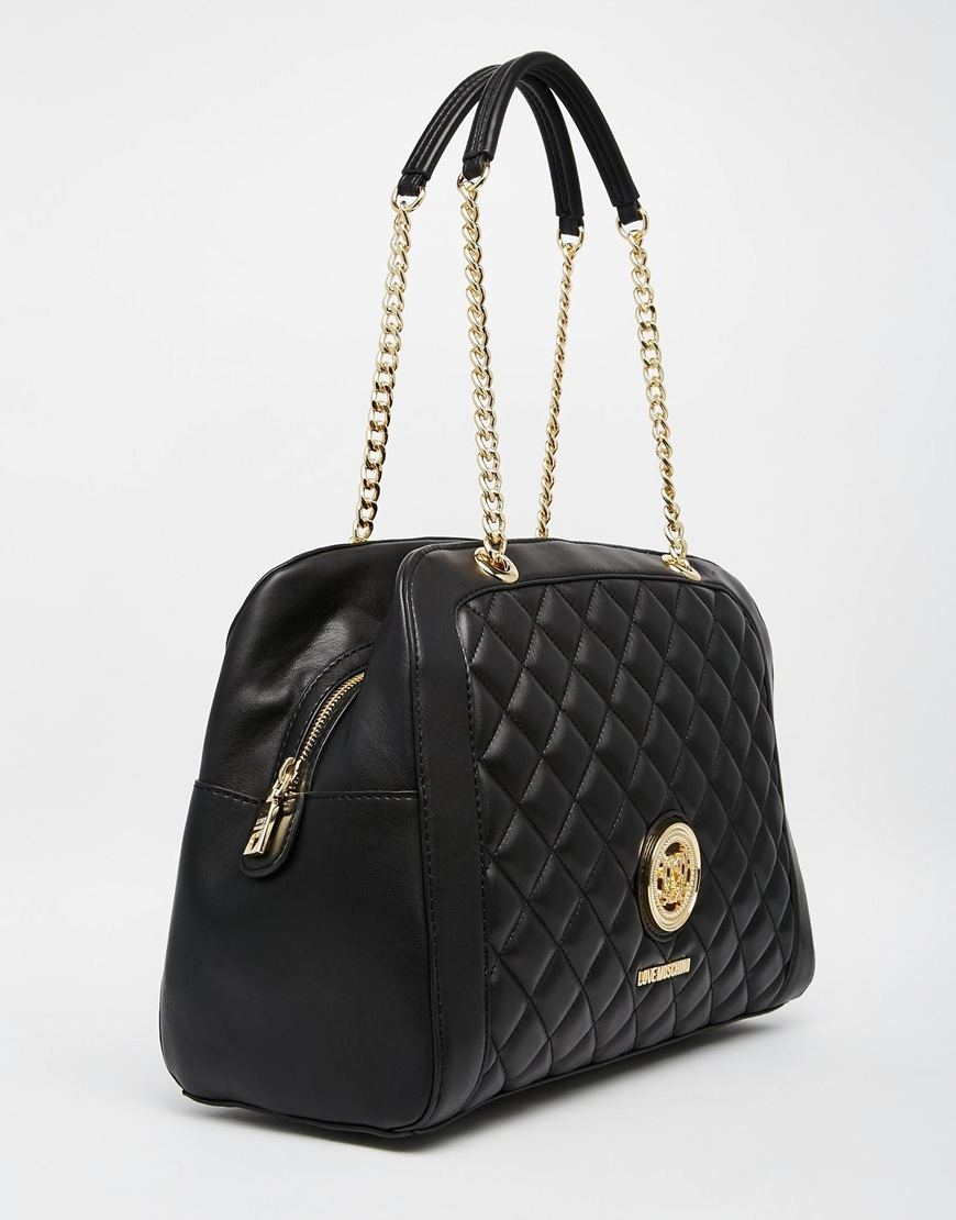 Love Moschino Quilted Bowler Shoulder Bag In Black Lyst